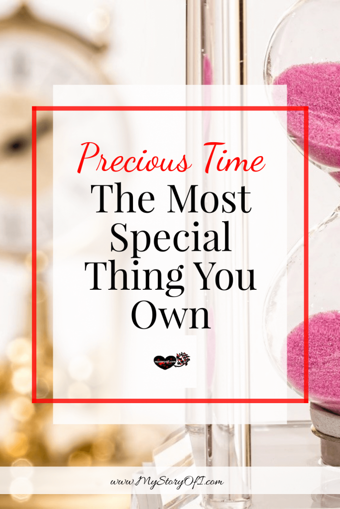 Precious time - the most special thing you own with an hourglass and clock in the background