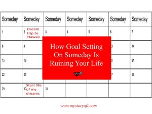 How goal setting on someday can ruin your life with calendar background