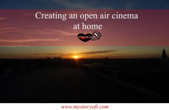 Starting the open air cinema at dusk