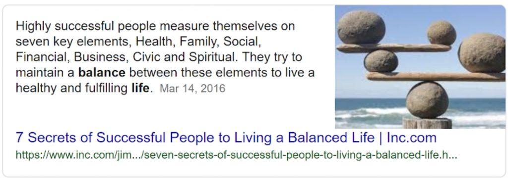 Balanced life google information