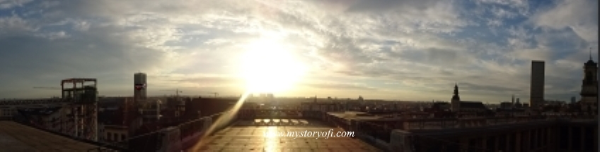 Panorama-of-a-Sunset-in-Brussels