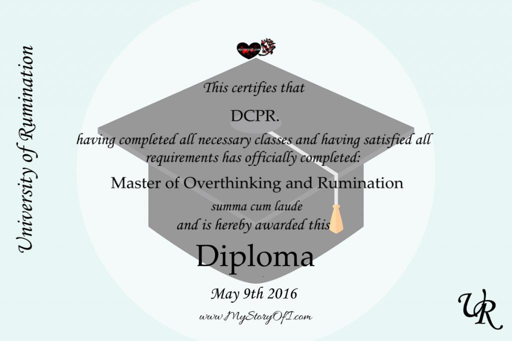 Diploma of graduation of the university of rumination